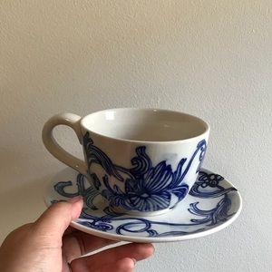 Anthropologie Love & aquatics mug + saucer